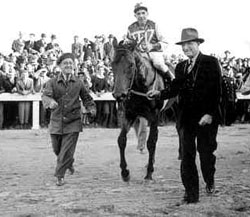 George Woolf aboard Seabiscuit moments after their match race victory at Pimlico over War Admiral