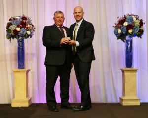 It was a very special night for Standardbred trainer/driver inductee Carl Jamieson as he receives his Hall of Fame Ring from son Jody Jamieson, two-time World Harness Driving Champion