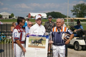 At a special ceremony that took place as part of Clinton Raceway's Legends Day, Hall of Fame Drivers John Campbell and Bill O'Donnell award fellow Hall of Famer Clint Galbraith with the award acknowledging Niatross being inducted into the Canadian Horse Racing Hall of Fame.